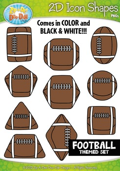 Football Themed 2D Icon Shapes Clipart Set — Includes 20 Graphics!