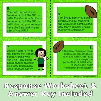Word Problems Task Cards- Football Theme