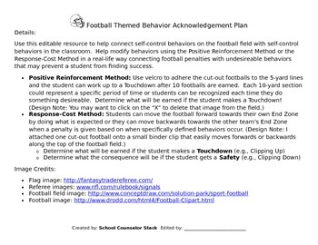Football Behavior Plan - Editable!