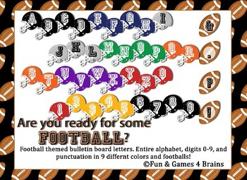 Football Themed Bulletin Board Letters, numbers, and punctuation