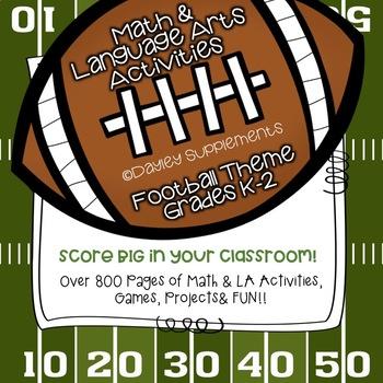 Math & LA - Flashcards, worksheets {Back to School} Football theme K-2