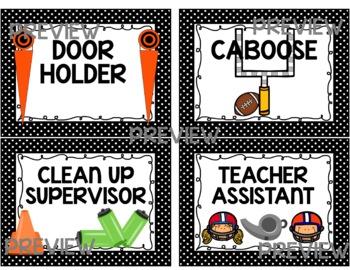 {EDITABLE} Football Theme Classroom Jobs Signs Chart