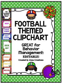 {Editable} Football Theme Clip Chart Behavior Management System