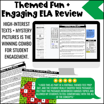 Football Themed Close Reading Comprehension Passages | ELA Test Prep