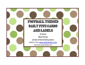 Football Themed Daily 5 Cards and Labels