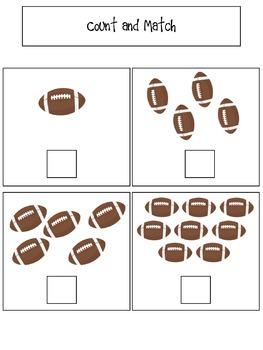 Football Themed File Folder Activities for Preschool and Kindergarten