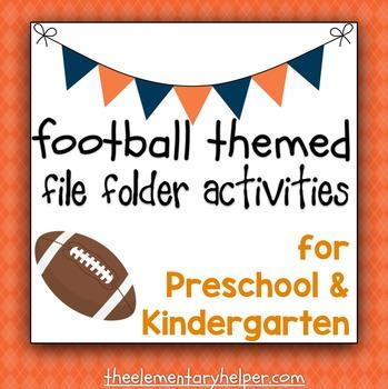 Football Themed File Folder Activities for Preschool and K