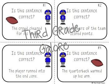 Football Themed Grammar Task Cards {FREEBIE}