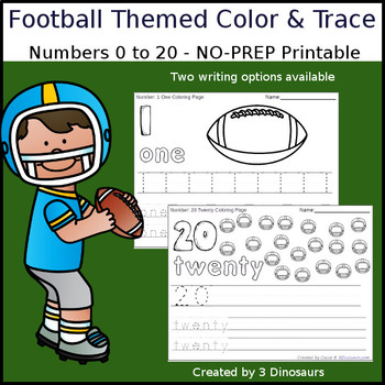 Football Themed Number Color and Trace