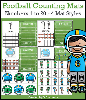 d300f7cbc86a Football Themed Number Counting Mats by 3 Dinosaurs
