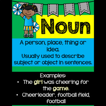 Football Themed Parts of Speech Posters