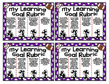 Football Themed Personal Marzano Rubric Cards