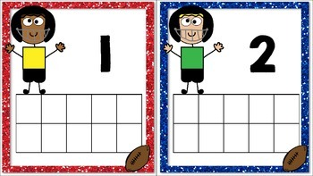 Football Themed Ten Frame Cards for Numbers 1 to 20