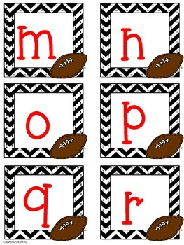 Football Themed Uppercase and Lowercase Alphabet Cards