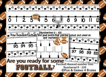Football Themed number line 0-100 - Black, white, grey