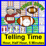 Telling Time: Football:  Touchdown! 3 Levels Digital and Clock Faces