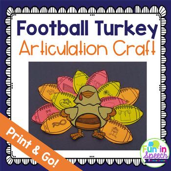 Football Turkey Articulation Craft - Thanksgiving Speech Therapy Activity