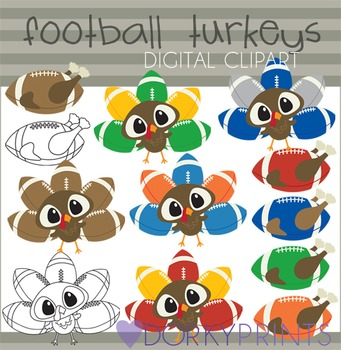 Football Turkeys Digital Clip Art