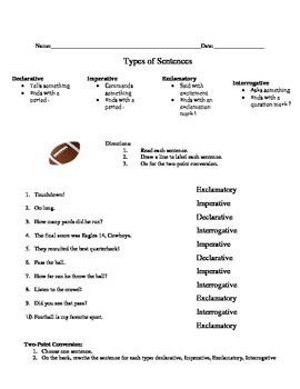Football Types of Sentences