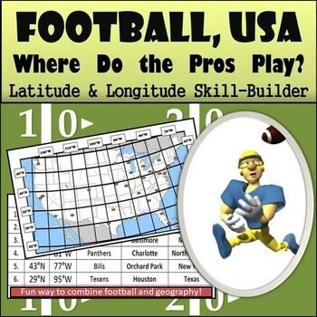 Latitude and Longitude Activity - Football, USA