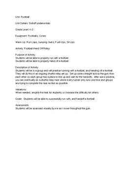 Football Unit - 11 Lesson Plans - Elementary PE