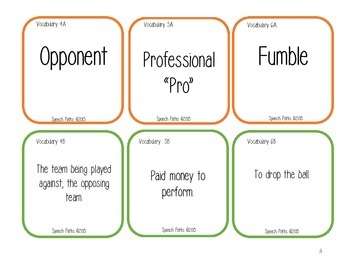 Football Vocabulary Match FREEBIE!