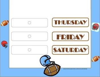 Football Weekday Chart! Football Bulletin Board! Football Theme!