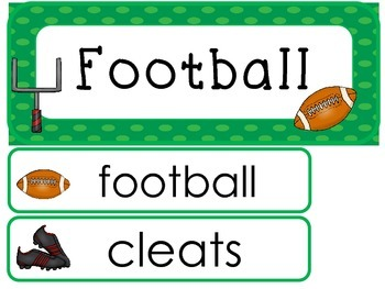 Football Word Wall Weekly Theme Posters.