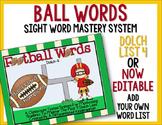 Ball Words Sight Word Mastery System-EDITABLE Football Words