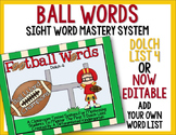 Ball Words Sight Word Mastery System-EDITABLE Football Words