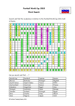 Football World Cup Russia 2018 - Word Search (PDF)