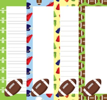 Football Writing Paper - 3 Styles - 4 Designs