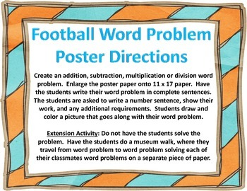 Football Writing Word Problems Poster