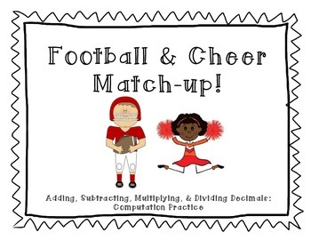 Football and Cheer Decimal Match-up!