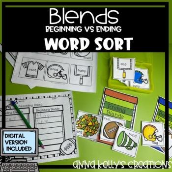 Football, fall, Beginning and Ending blends word sort