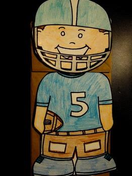Football paper bag puppet