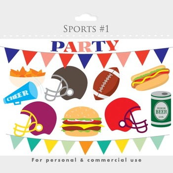 Football party clipart - football sports clip art, foot ball clipart, helmets