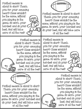 Football prayer cards for students