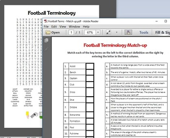 Football (soccer) terms wordsearch and match up activity