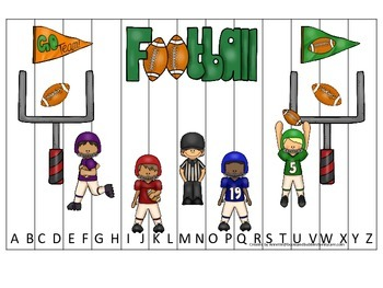 Football themed Alphabet Sequence Puzzle preschool educational game.  Daycare.