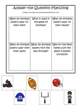 Football themed Answer the Question preschool educational game.  Daycare games.