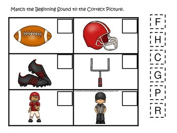 Football themed Beginning Sounds preschool educational game.  Daycare.