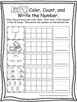 Football themed Color, Count, and Write preschool educational worksheet.