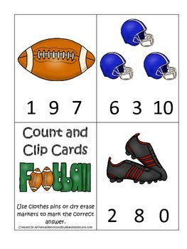 Football themed Count and Clip preschool educational cards.  Daycare.