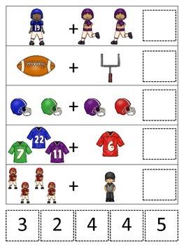 Football themed Math Addition preschool educational activity.  Daycare.