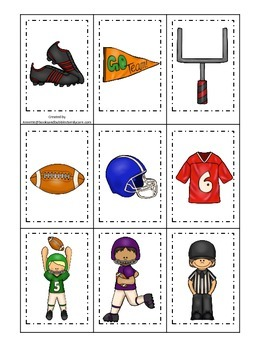 Football themed Memory Matching preschool educational game.  Daycare games.