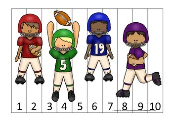 Football themed Number Sequence Puzzle 1-10 preschool educational game.  Daycare