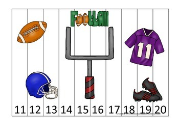 Football themed Number Sequence Puzzle 11-20 preschool educational game.  Daycar