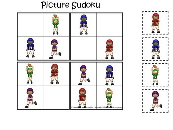 Football themed Picture Sudoku preschool educational game.  Daycare games.