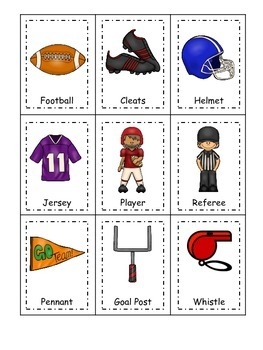 Football themed Three Part Matching preschool educational game.  Daycare games.